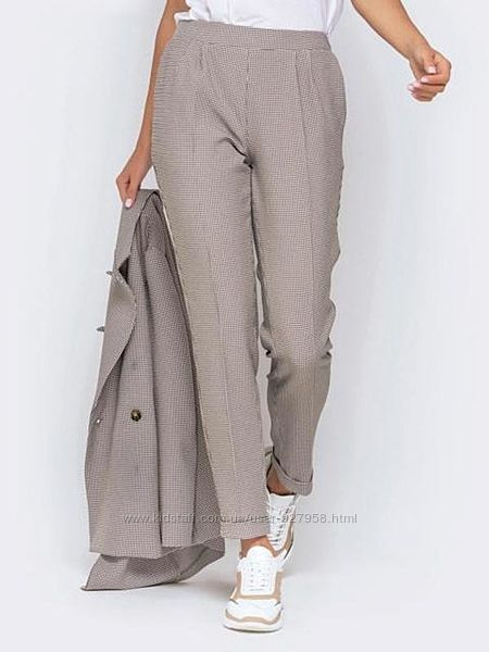 Цветные бежевые классические офисные плотные брюки штаны в клетку карманами