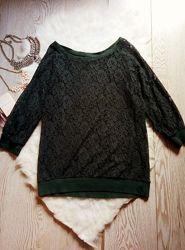 Зеленая ажурная кофта гипюр ажурная вышивка с рукавами оверсайз стрейч джем