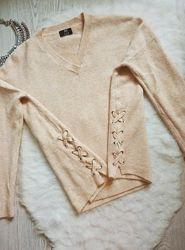 Розовый бежевый пудровый свитер оверсайз вязаная кофта с завязками по бокам