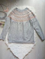 Серый вязаный свитер с бронзовыми блестками на воротнике кофта теплая вязан