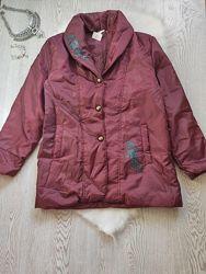 Дутая обьемная оверсайз деми куртка пальто пуховик бордовая марсала с цвето