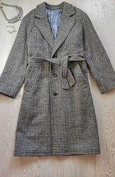 Серое в принт гусиная лапка халат клетку зимнее шерстяное пальто с поясом д