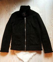 Черная зимняя теплая мужская дубленка короткая куртка на меху овчине шерпа