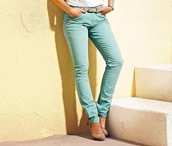 Плотные цветные джинсы чиносы мятные голубые бирюзовые стрейч батал скинни