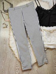 Белые кроп штаны брюки в синюю вертикальную полоску высокая талия посадка б