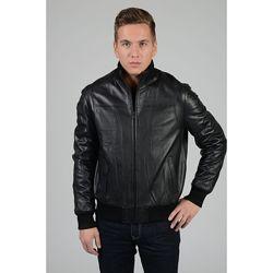 Черная теплая деми утепленная натуральная мужская куртка кожанка косуха с м