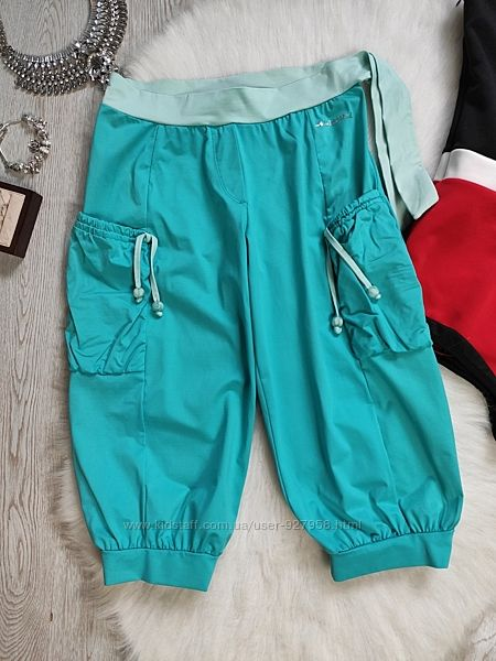 Голубые бирюзовые спортивные длинные шорты бриджи супер стрейч с карманами