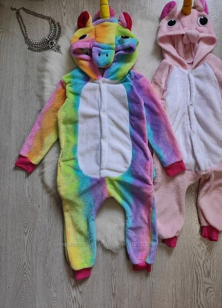 Пушистая детская пижама кингуруми плюшевая комбинезон радужный