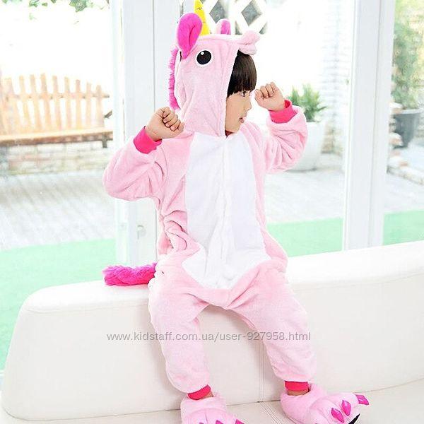 Пушистая детская пижама кингуруми плюшевая комбинезон розовый