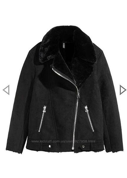 Черная женская дубленка авиатор куртка короткая с мехом шерпа