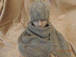 Комплект зимний шапка и шарф Орех