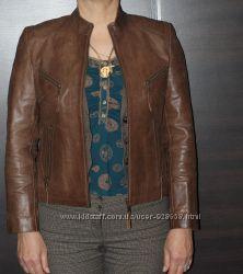 Снижена цена   Кожаная курткаLipo Lipo цвет коричневая размер 38 40