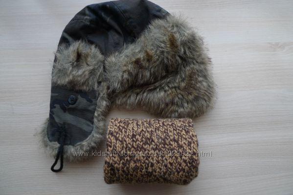 Шапка Next очень тёплая на 3-6 лет шарф в подарок