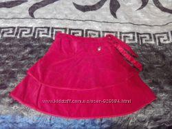 SELA юбка нарядная красная велюр
