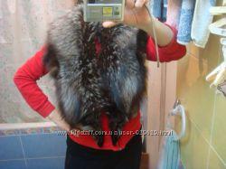 Воротник палантин мех чернобурка натуральная 130см