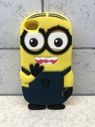 Cиликоновый 3D чехол накладка Желтый Миньон для Iphone 4, 4S