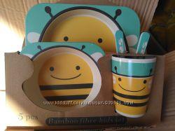 Детский набор экологической посуды из бамбука 5 в 1, эко детская посуда, ба