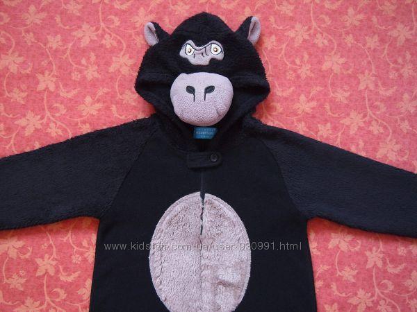 3-4 года Махровый человечек-пижама Обезьяна, Primark, бу.