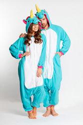 Пижама кигуруми Взрослые Единорог голубой