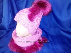 шапочки шарфики с натуральным мехом