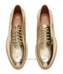Брогги женские, туфли. Золотистые, на шнурках. Распродажа Н&M