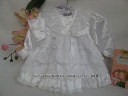 Шикарное английское кружевное платье зефирка 6-12 мес