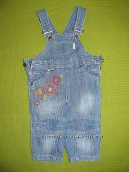 Бемби джинсовый полукомбинезон комбинезон песочник для девочки 74
