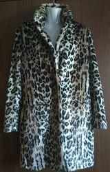 Леопардовое меховое пальто Н&М наш 46 М, осень/весна