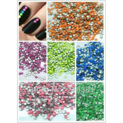 Круглые украшение разных цветов   микс  для маникюра