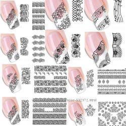 Наклейки для ногтей - кружева