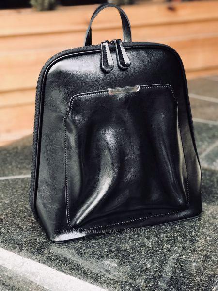 Рюкзак кожаный женский чёрный, пудра в университет, кожа натуральная
