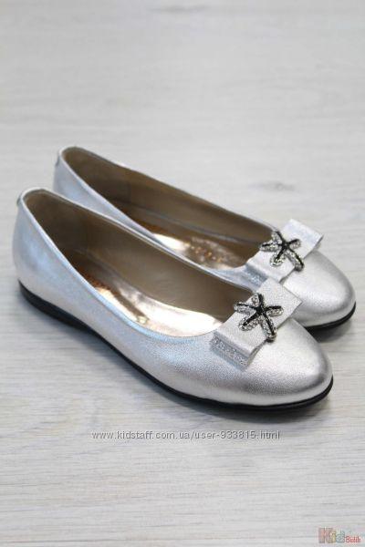 Туфли серебристые для девочки Kemal Pafi