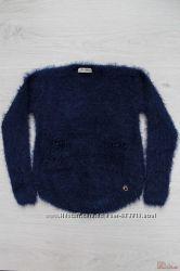 Джемпер темно-синий с длинным ворсом и карманами Miss Blaze