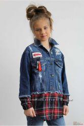 Куртка джинсовая с клетчатым подолом A-yugi