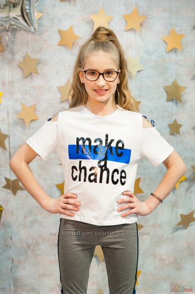 Футболка белая Make a chance для девочки Marions