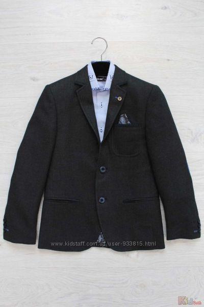 Пиджак для мальчика школьный тёмно-серый Herdal