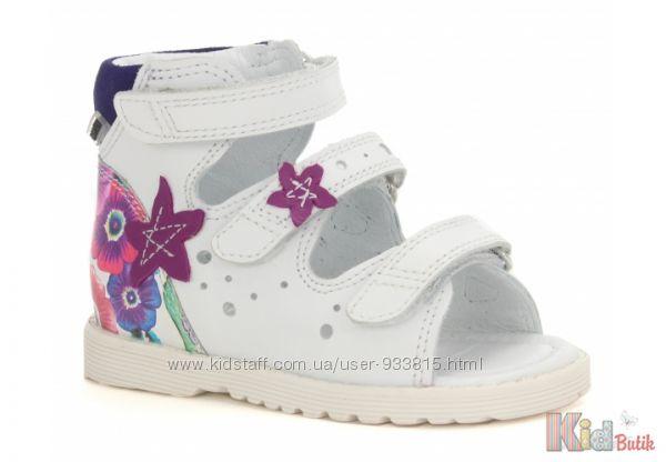 Босоножки ортопедические белые с цветочками для девочки Bartek