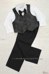 Костюм  3-ка для мальчика с черной, атласной жилеткой Rodeng