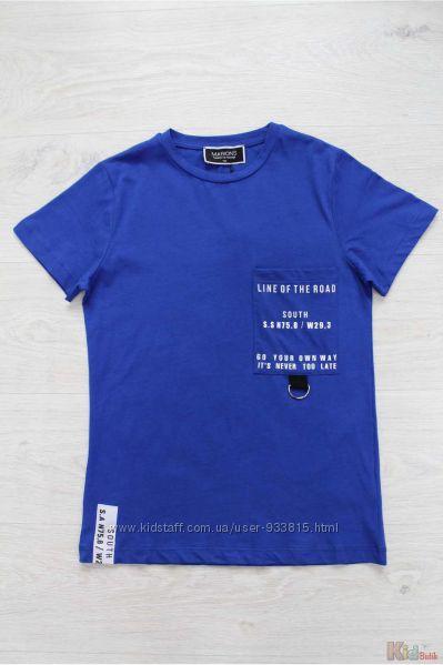Футболка синего цвета с принтом на кармане для мальчика Marions