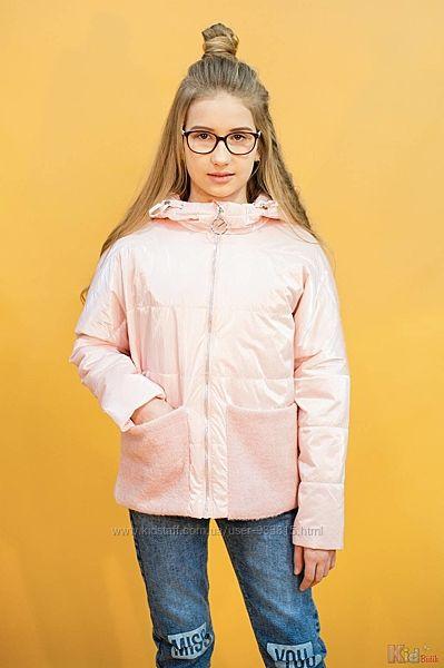 Куртка комбинированная жемчужно-розового цвета для девочки Venidise