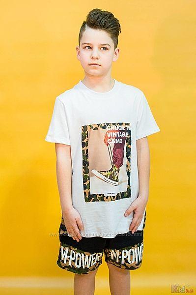Футболка для мальчика белая с камуфляжным принтом Marions