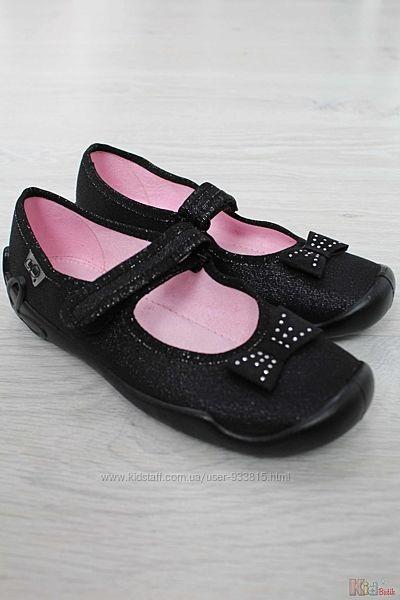 Тапочки черные с блестящей ниткой и бантом для девочки Befado