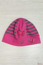 Шапочка для девочки розовая в серую полоску Marika