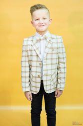 Пиджак молочного цвета в клетку для мальчика Zenmoni