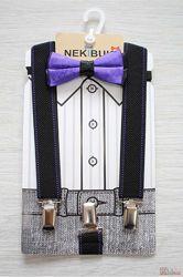 Бабочка с подтяжками черно-фиолетовая Пунктир для мальчика Nekibuki Оптом и в розницу