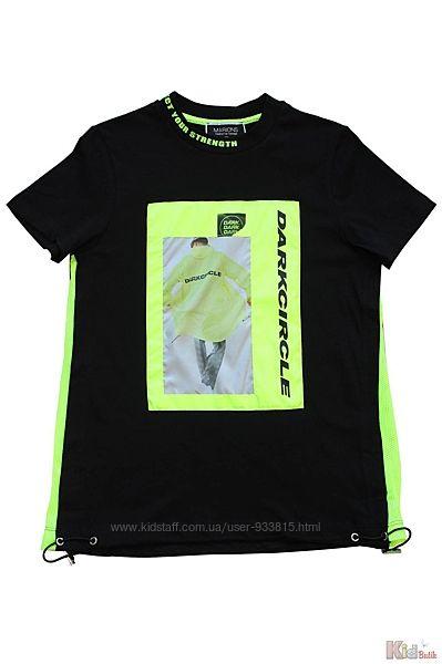 Стильная футболка с салатовыми вставками для мальчика Marions