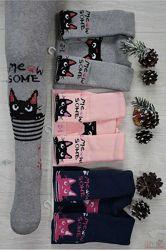Колготки махровые с котиком Meow some для девочки Pier Lone