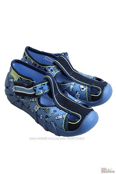 Тапочки высокие синие с ретро гоночными машинками Befado