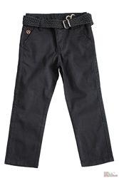 Штаны черные сдержанные с плетеным ремнем Ozk kids