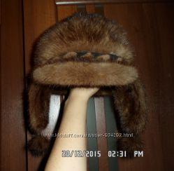 Натуральная норковая шапка-ушанка.